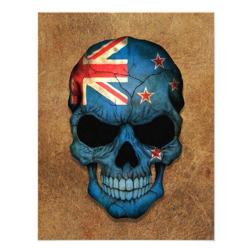 Aged and Worn New Zealand Flag Skull Custom Invitations