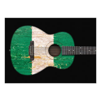 Aged and Worn Nigerian Flag Acoustic Guitar black Cards