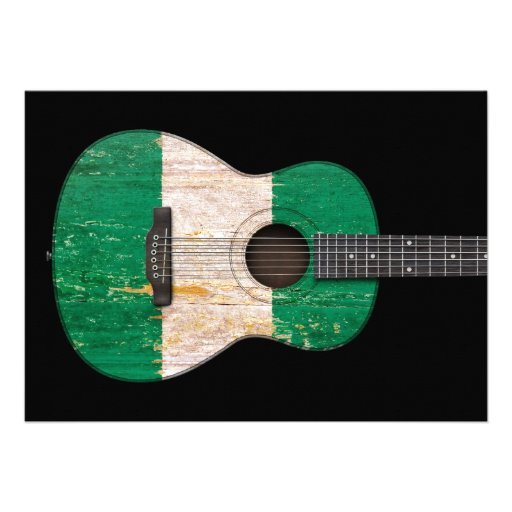Aged and Worn Nigerian Flag Acoustic Guitar, black Cards