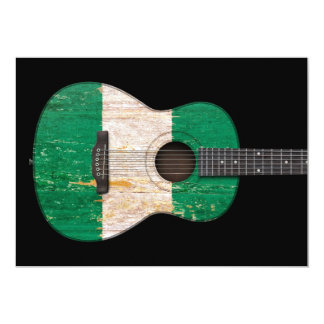 Aged and Worn Nigerian Flag Acoustic Guitar, black 5x7 Paper Invitation Card