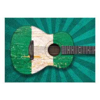 Aged and Worn Nigerian Flag Acoustic Guitar teal Custom Invitations