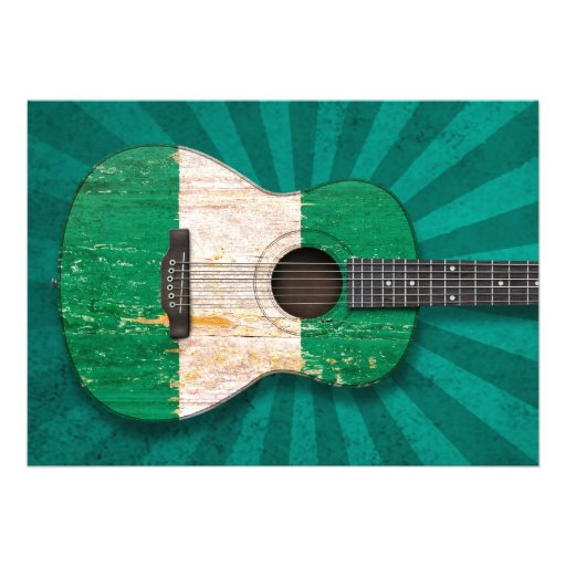 Aged and Worn Nigerian Flag Acoustic Guitar, teal Custom Invitations