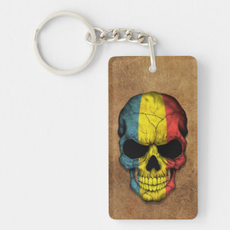 Aged and Worn Romanian Flag Skull Key Ring