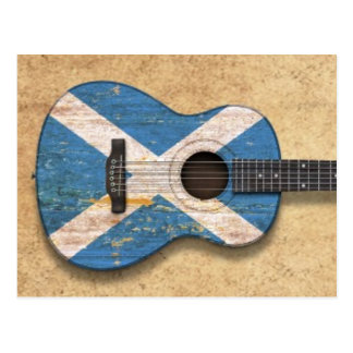 Aged and Worn Scottish Flag Acoustic Guitar Postcard