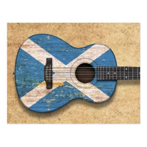 Aged and Worn Scottish Flag Acoustic Guitar Post Card