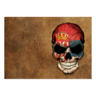Aged and Worn Serbian Flag Skull Business Card