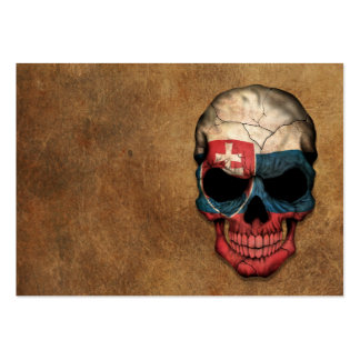 Aged and Worn Slovakian Flag Skull Pack Of Chubby Business Cards