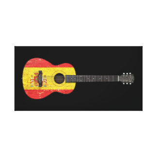 Aged and Worn Spanish Flag Acoustic Guitar, black Gallery Wrap Canvas