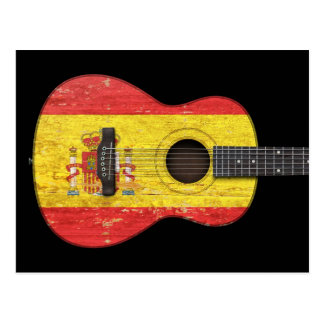 Aged and Worn Spanish Flag Acoustic Guitar, black Postcard