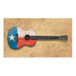 Aged and Worn Texas Flag Acoustic Guitar Business Card