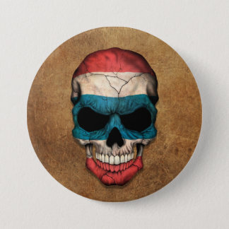 Aged and Worn Thai Flag Skull 7.5 Cm Round Badge