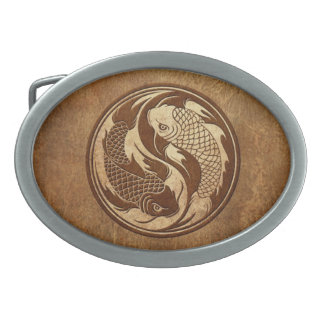 Aged and Worn Yin Yang Koi Fish Belt Buckle