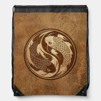 Aged and Worn Yin Yang Koi Fish Drawstring Bag