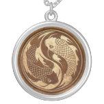 Aged and Worn Yin Yang Koi Fish Round Pendant Necklace