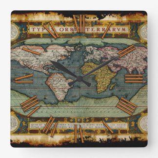 Aged Antique Old World Map History Designer Clock
