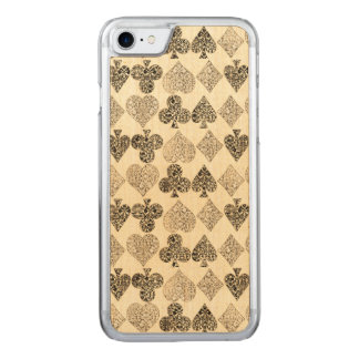 Aged Antiqued Beige Damask Card Suit Heart Diamond Carved iPhone 8/7 Case