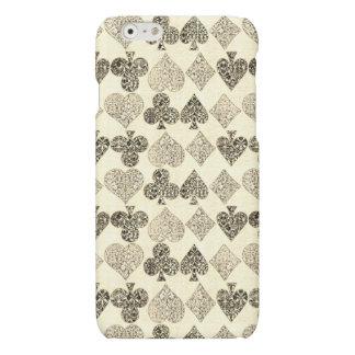 Aged Antiqued Beige Damask Card Suit Heart Diamond iPhone 6 Plus Case