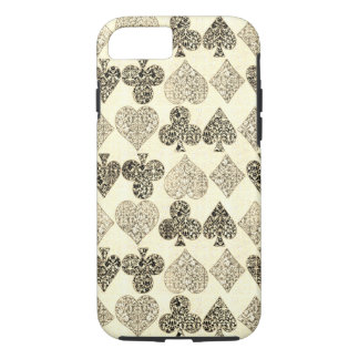 Aged Antiqued Beige Damask Card Suit Heart Diamond iPhone 8/7 Case