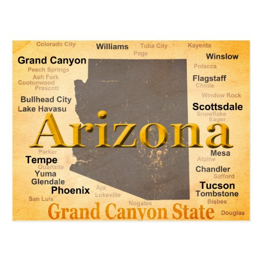 Aged Arizona State Pride Map Postcards