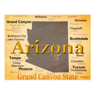 Aged Arizona State Pride Map Postcards