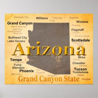 Aged Arizona State Pride Map Poster