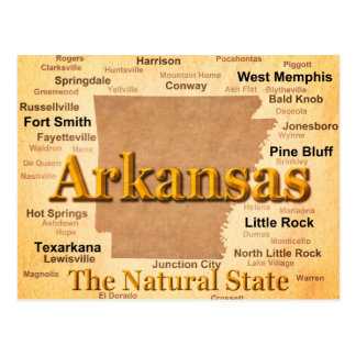 Aged Arkansas State Pride Map Post Cards