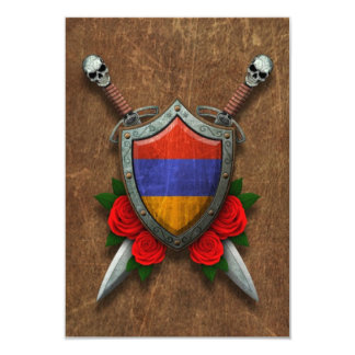 Aged Armenian Flag Shield and Swords with Roses Invites
