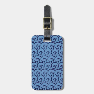 Aged art deco style wave pattern (blue) luggage tag