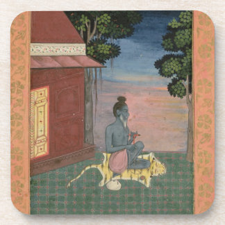 Aged ascetic seated on a tiger skin outside a buil drink coaster