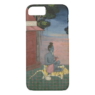 Aged ascetic seated on a tiger skin outside a buil iPhone 8/7 case