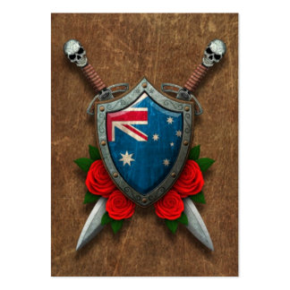 Aged Australian Flag Shield and Swords with Roses Pack Of Chubby Business Cards