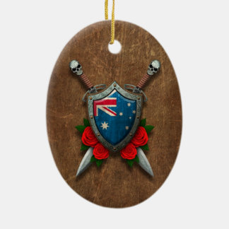 Aged Australian Flag Shield and Swords with Roses Christmas Tree Ornament