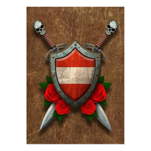 Aged Austrian Flag Shield and Swords with Roses Business Card Template