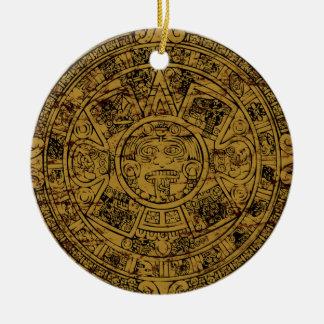 Aged Aztec Mayan Sun Stone Calendar Round Ceramic Decoration
