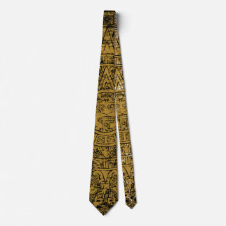 Aged Aztec Mayan Sun Stone Calendar Tie