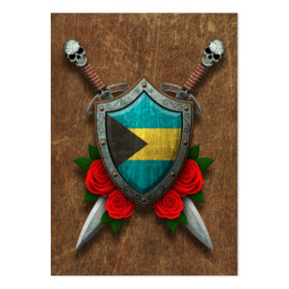 Aged Bahamas Flag Shield and Swords with Roses Pack Of Chubby Business Cards