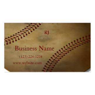 Aged Baseball with Custom Monogram Double-Sided Standard Business Cards (Pack Of 100)