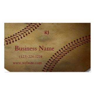 Aged Baseball with Custom Monogram Business Card Templates