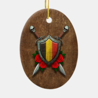 Aged Belgian Flag Shield and Swords with Roses Ornaments