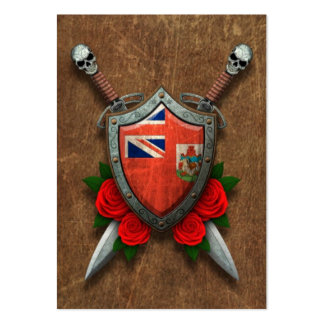 Aged Bermuda Flag Shield and Swords with Roses Pack Of Chubby Business Cards