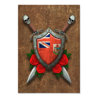 Aged Bermuda Flag Shield and Swords with Roses Personalized Invites