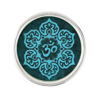 Aged Blue Stone Floral Om Lapel Pin
