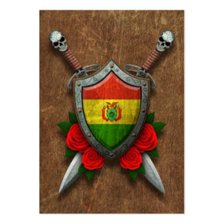 Aged Bolivian Flag Shield with Red Roses Large Business Cards (Pack Of 100)