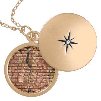 Aged Brick Wall Textured Round Locket Necklace