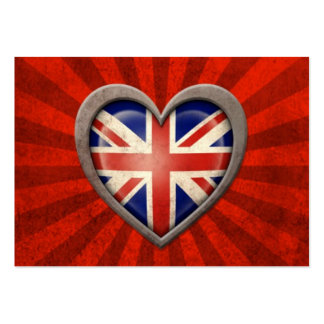 Aged British Flag Heart with Light Rays Business Card Templates