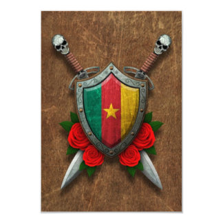 Aged Cameroon Flag Shield and Swords with Roses Invite
