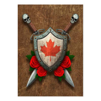 Aged Canadian Flag Shield and Swords with Roses Pack Of Chubby Business Cards
