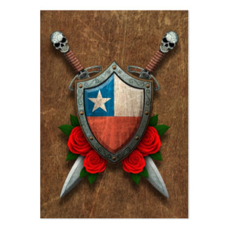 Aged Chilean Flag Shield and Swords with Roses Large Business Cards (Pack Of 100)