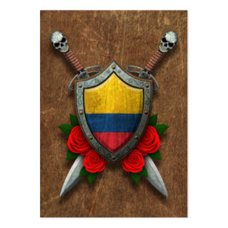 Aged Colombian Flag Shield and Swords with Roses Business Cards