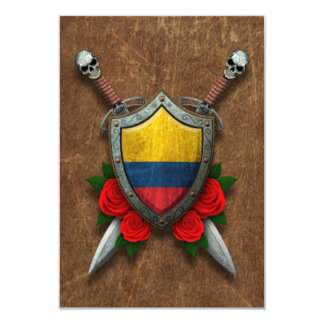 Aged Colombian Flag Shield and Swords with Roses Custom Invitations